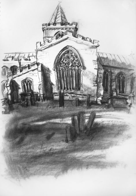 Algarkirk Church, charcoal drawing by Rosie Redzia