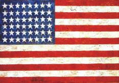 Jasper Johns's 'Flag', Encaustic, oil and collage on fabric mounted on plywood, 42 x 61 in., Museum of Modern Art, New York, 1954-55 (Wkipedia)