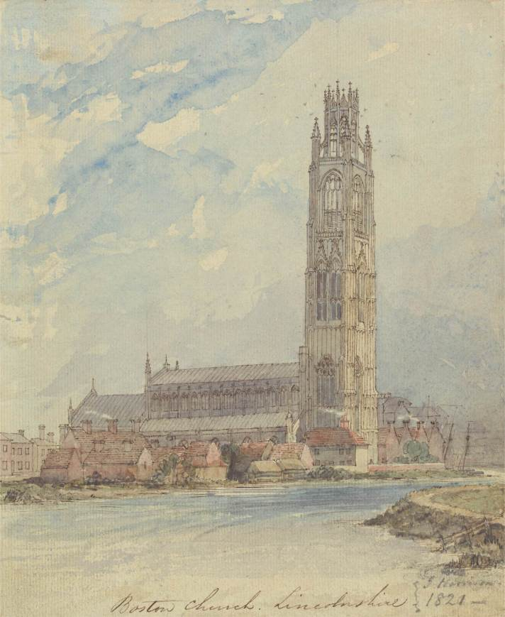 "Boston Church, Lincolnshire,"" by James Harrison (1814-1866), watercolour. Dated 1821"