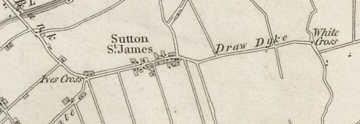 Sutton St James, as  mapped by the First Ordnance Survey in 1824