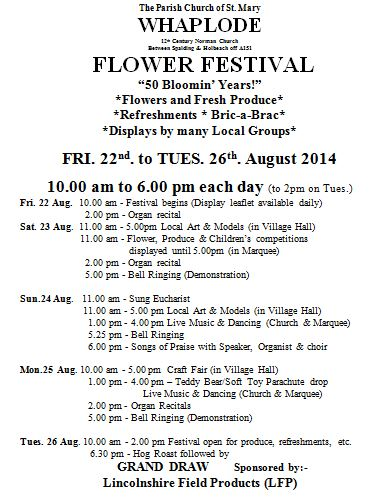 Flowers Whaplode August 2014 flyer